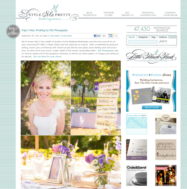 style me pretty backyard napa wedding